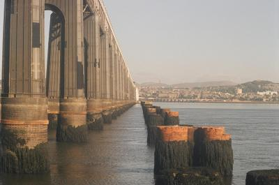Tay rail bridge, Dundee Scotland with stumps of old bridge at right